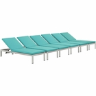 Modway Shore Chaise with Cushions Outdoor Patio Aluminum Set of 6 in Silver Turquoise MY-EEI-2739-SLV-TRQ-SET