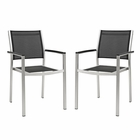 Modway Shore Dining Chair Outdoor Patio Aluminum Set of 2 in Silver Black MY-EEI-2586-SLV-BLK-SET