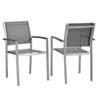 Modway Shore Dining Chair Outdoor Patio Aluminum Set of 2 in Silver Gray MY-EEI-2586-SLV-GRY-SET