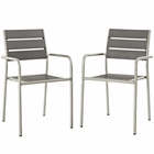 Modway Shore Dining Chair Outdoor Patio Aluminum Set of 2 in Silver Gray MY-EEI-3203-SLV-GRY-SET