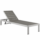 Modway Shore Outdoor Patio Aluminum Chaise in Silver Gray MY-EEI-2247-SLV-GRY