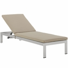 Modway Shore Outdoor Patio Aluminum Chaise with Cushions in Silver Beige MY-EEI-2660-SLV-BEI