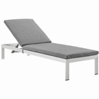 Modway Shore Outdoor Patio Aluminum Chaise with Cushions in Silver gray MY-EEI-2660-SLV-GRY