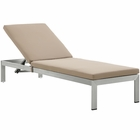 Modway Shore Outdoor Patio Aluminum Chaise with Cushions in Silver Mocha MY-EEI-2660-SLV-MOC