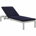 Modway Shore Outdoor Patio Aluminum Chaise with Cushions in Silver Navy MY-EEI-2660-SLV-NAV