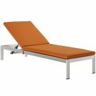 Modway Shore Outdoor Patio Aluminum Chaise with Cushions in Silver Orange MY-EEI-2660-SLV-ORA