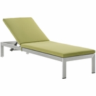 Modway Shore Outdoor Patio Aluminum Chaise with Cushions in Silver Peridot MY-EEI-2660-SLV-PER