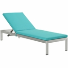 Modway Shore Outdoor Patio Aluminum Chaise with Cushions in Silver Turquoise MY-EEI-2660-SLV-TRQ