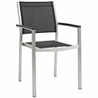 Modway Shore Outdoor Patio Aluminum Dining Chair in Silver Black MY-EEI-2272-SLV-BLK