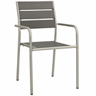 Modway Shore Outdoor Patio Aluminum Dining Rounded Armchair in Silver Gray MY-EEI-2258-SLV-GRY