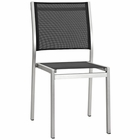 Modway Shore Outdoor Patio Aluminum Dining Side Chair in Silver Black MY-EEI-2259-SLV-BLK