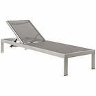 Modway Shore Outdoor Patio Aluminum Mesh Chaise in Silver Gray MY-EEI-2249-SLV-GRY