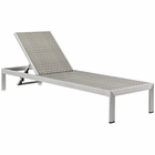 Modway Shore Outdoor Patio Aluminum Rattan Chaise in Silver Gray MY-EEI-2250-SLV-GRY