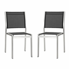Modway Shore Side Chair Outdoor Patio Aluminum Set of 2 in Silver Black MY-EEI-2585-SLV-BLK-SET