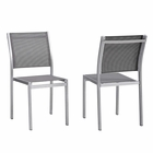 Modway Shore Side Chair Outdoor Patio Aluminum Set of 2 in Silver Gray MY-EEI-2585-SLV-GRY-SET
