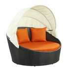Modway Siesta Canopy Outdoor Patio Daybed in Espresso Orange MY-EEI-642-EXP-ORA