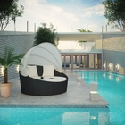 Modway Siesta Canopy Outdoor Patio Daybed in Espresso White MY-EEI-642-EXP-WHI