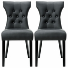 Modway Silhouette Dining Chairs Faux Leather Set of 2 in Black MY-EEI-911-BLK