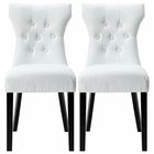 Modway Silhouette Dining Chairs Faux Leather Set of 2 in White MY-EEI-911-WHI