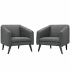 Modway Slide Armchairs Set of 2 in Gray MY-EEI-2452-GRY-SET