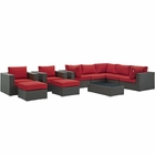 Modway Sojourn 10 Piece Outdoor Patio Wicker Rattan Sunbrella® Sectional Set in Canvas Red MY-EEI-1888-CHC-RED-SET