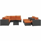 Modway Sojourn 10 Piece Outdoor Patio Wicker Rattan Sunbrella® Sectional Set in Canvas Tuscan MY-EEI-1888-CHC-TUS-SET