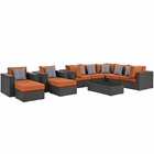 Modway Sojourn 10 Piece Outdoor Patio Wicker Rattan Sunbrella® Sectional Set in Canvas Tuscan MY-EEI-2383-CHC-TUS-SET