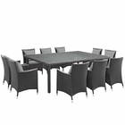 Modway Sojourn 11 Piece Outdoor Patio Wicker Rattan Sunbrella® Fabric Dining Set in Canvas Gray MY-EEI-2311-CHC-GRY-SET