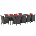 Modway Sojourn 11 Piece Outdoor Patio Wicker Rattan Sunbrella® Fabric Dining Set in Canvas Red MY-EEI-2310-CHC-RED-SET