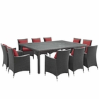 Modway Sojourn 11 Piece Outdoor Patio Wicker Rattan Sunbrella® Fabric Dining Set in Canvas Red MY-EEI-2311-CHC-RED-SET