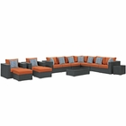 Modway Sojourn 11 Piece Outdoor Patio Wicker Rattan Sunbrella® Sectional Set in Canvas Tuscan MY-EEI-2381-CHC-TUS-SET
