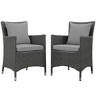 Modway Sojourn 2 Piece Outdoor Patio Wicker Rattan Sunbrella® Fabric Dining Set in Canvas Gray MY-EEI-2242-CHC-GRY-SET