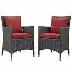 Modway Sojourn 2 Piece Outdoor Patio Wicker Rattan Sunbrella® Fabric Dining Set in Canvas Red MY-EEI-2242-CHC-RED-SET
