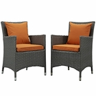Modway Sojourn 2 Piece Outdoor Patio Wicker Rattan Sunbrella® Fabric Dining Set in Canvas Tuscan MY-EEI-2242-CHC-TUS-SET