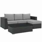 Modway Sojourn 3 Piece Outdoor Patio Wicker Rattan Sunbrella® Sectional Set in Canvas Gray MY-EEI-1889-CHC-GRY-SET