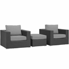 Modway Sojourn 3 Piece Outdoor Patio Wicker Rattan Sunbrella® Sectional Set in Canvas Gray MY-EEI-1891-CHC-GRY-SET