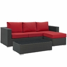 Modway Sojourn 3 Piece Outdoor Patio Wicker Rattan Sunbrella® Sectional Set in Canvas Red MY-EEI-1889-CHC-RED-SET