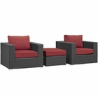 Modway Sojourn 3 Piece Outdoor Patio Wicker Rattan Sunbrella® Sectional Set in Canvas Red MY-EEI-1891-CHC-RED-SET