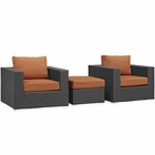 Modway Sojourn 3 Piece Outdoor Patio Wicker Rattan Sunbrella® Sectional Set in Canvas Tuscan MY-EEI-1891-CHC-TUS-SET
