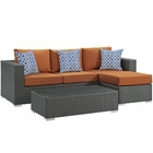 Modway Sojourn 3 Piece Outdoor Patio Wicker Rattan Sunbrella® Sectional Set in Canvas Tuscan MY-EEI-2384-CHC-TUS-SET