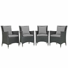 Modway Sojourn 4 Piece Outdoor Patio Wicker Rattan Sunbrella® Fabric Dining Set in Canvas Gray MY-EEI-2243-CHC-GRY-SET