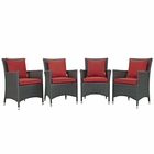Modway Sojourn 4 Piece Outdoor Patio Wicker Rattan Sunbrella® Fabric Dining Set in Canvas Red MY-EEI-2243-CHC-RED-SET