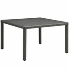 """Modway Sojourn 47"""" Square Outdoor Patio Wicker Rattan Dining Table in Chocolate MY-EEI-1925-CHC"""