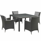 Modway Sojourn 5 Piece Outdoor Patio Wicker Rattan Sunbrella® Fabric Dining Set in Canvas Gray MY-EEI-2244-CHC-GRY-SET