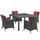 Modway Sojourn 5 Piece Outdoor Patio Wicker Rattan Sunbrella® Fabric Dining Set in Canvas Red MY-EEI-2244-CHC-RED-SET