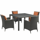 Modway Sojourn 5 Piece Outdoor Patio Wicker Rattan Sunbrella® Fabric Dining Set in Canvas Tuscan MY-EEI-2244-CHC-TUS-SET