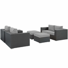 Modway Sojourn 5 Piece Outdoor Patio Wicker Rattan Sunbrella® Sectional Set in Canvas Gray MY-EEI-1879-CHC-GRY-SET