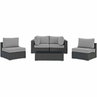 Modway Sojourn 5 Piece Outdoor Patio Wicker Rattan Sunbrella® Sectional Set in Canvas Gray MY-EEI-1882-CHC-GRY-SET