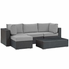 Modway Sojourn 5 Piece Outdoor Patio Wicker Rattan Sunbrella® Sectional Set in Canvas Gray MY-EEI-1890-CHC-GRY-SET