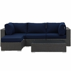 Modway Sojourn 5 Piece Outdoor Patio Wicker Rattan Sunbrella® Sectional Set in Canvas Navy MY-EEI-1890-CHC-NAV-SET